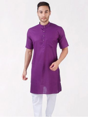Purple Tussar Cotton Kurta (Half Sleeve)