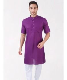 Purple Tussar Cotton Kurta (Half Sleeve)