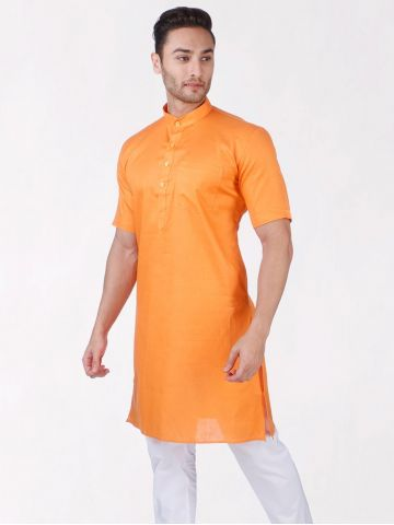 Orange Tussar Cotton Kurta (Half Sleeve)