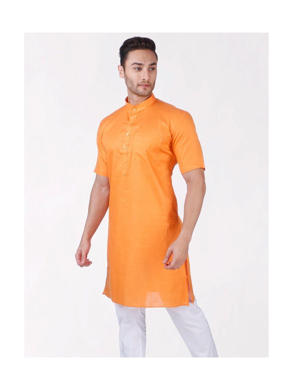 Orange Tussar Cotton Kurta (Half Sleeve)