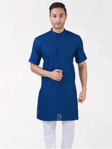 Dark Blue Cotton Kurta (Half Sleeve)