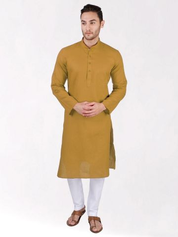 Gold Linen Blend Long Kurta