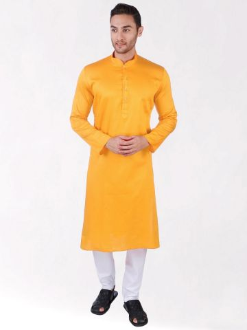 Yellow Satin Cotton Kurta