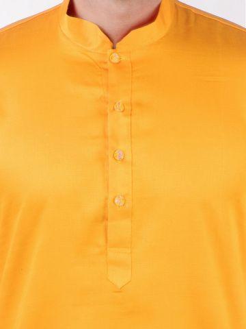 Yellow Satin Cotton Kurta