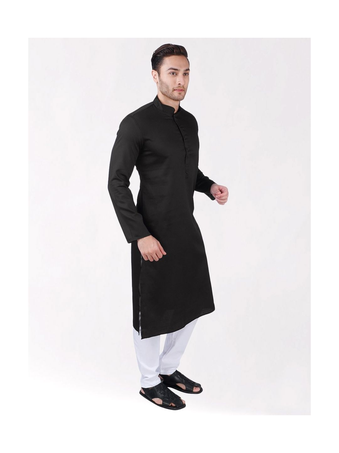 Black Satin Cotton Kurta