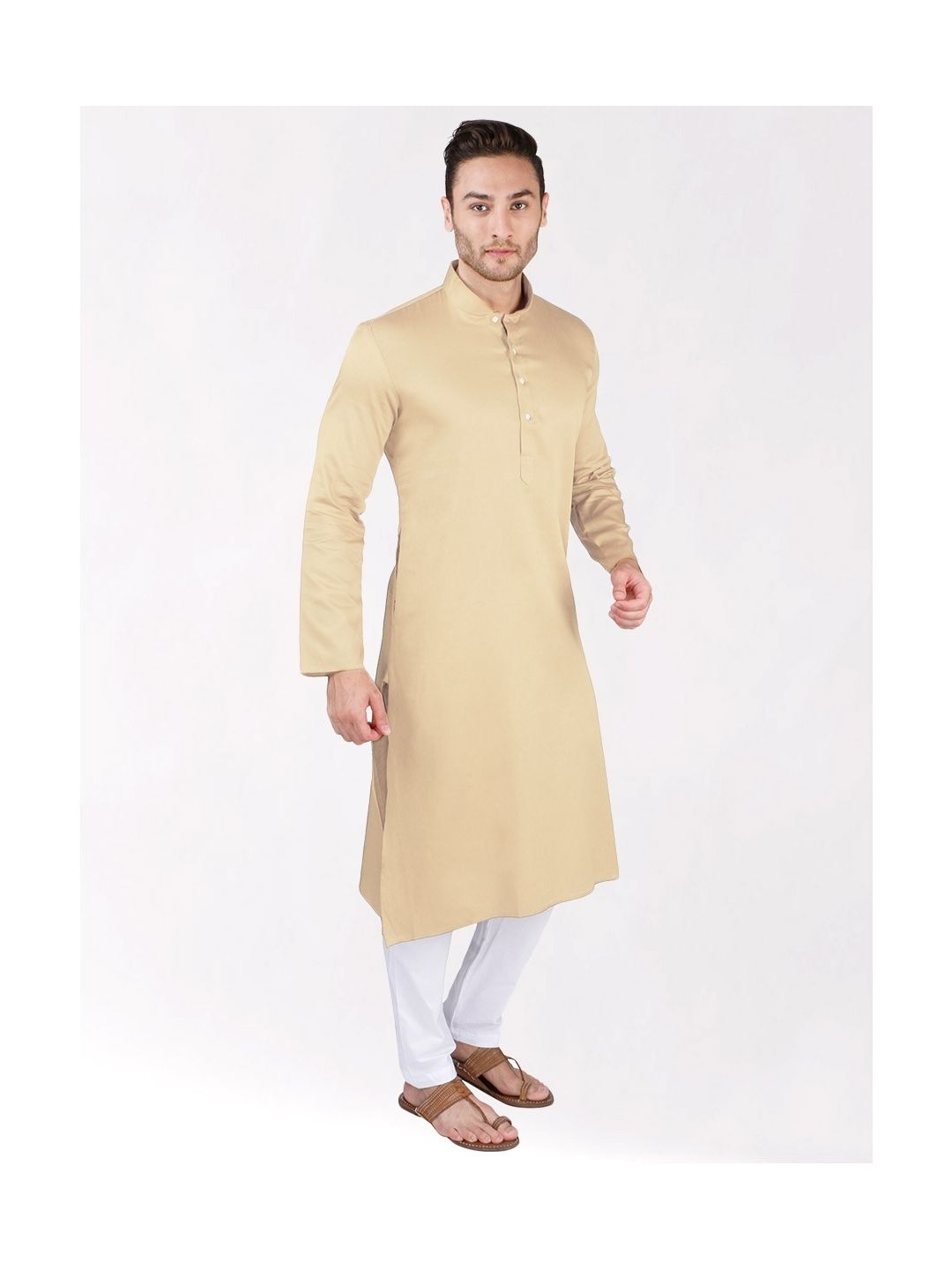 Cream Satin Cotton Kurta