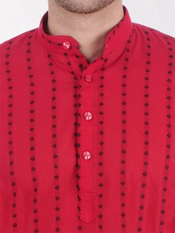 Red Woven Design Handloom Cotton Kurta