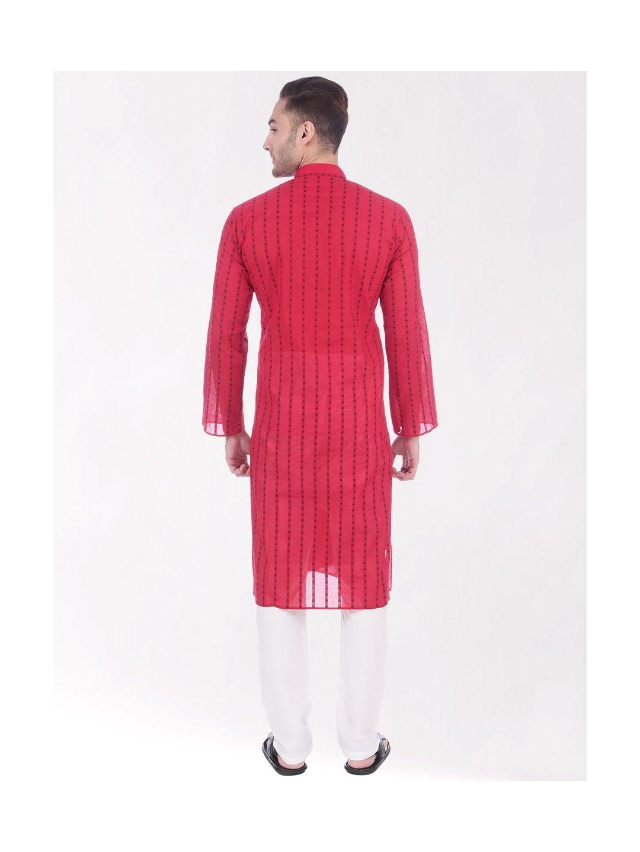Red Woven Design Handloom Cotton Kurta