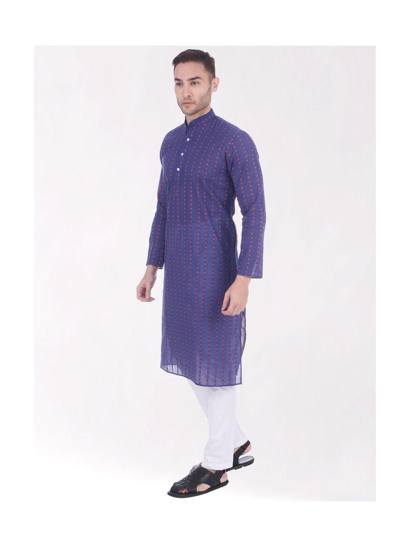 Dark Blue Woven Design Handloom Cotton Kurta
