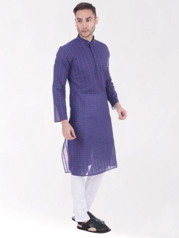 Dark Blue Woven Design Handloom Cotton Kurta