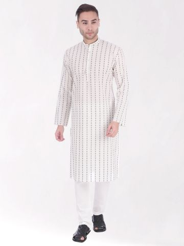 White Woven Design Handloom Cotton Kurta