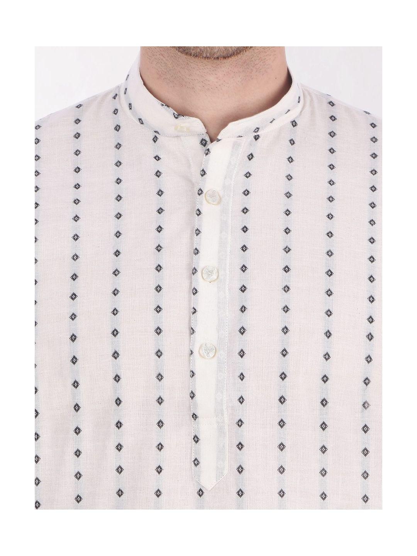White Woven Design Handloom Cotton Kurta