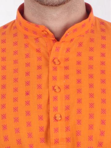 Yellow Woven Design Handloom Cotton Kurta