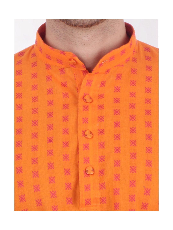 Yellow Woven Design Handloom Cotton Kurta