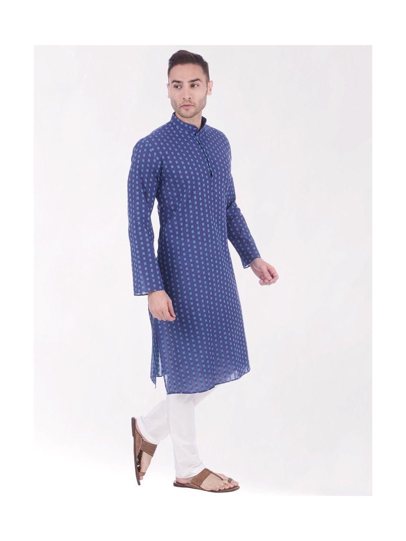 Blue Woven Design Handloom Cotton Kurta