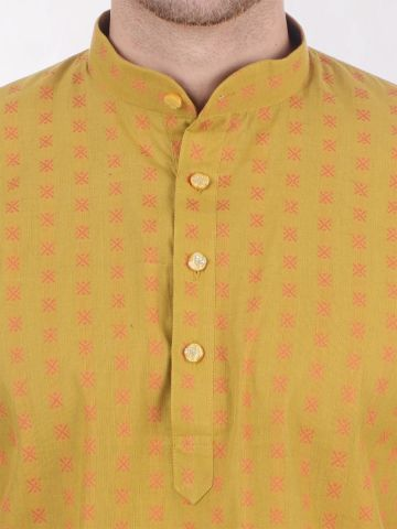 Gold Yellow Woven Design Handloom Cotton Kurta