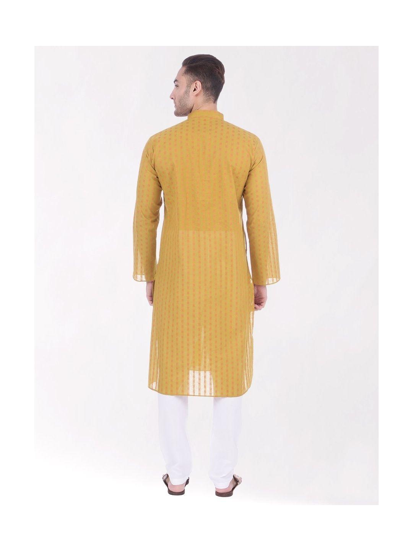 Gold Yellow Woven Design Handloom Cotton Kurta
