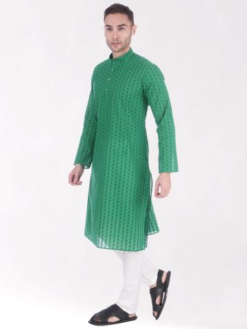 Green Woven Design Handloom Cotton Kurta