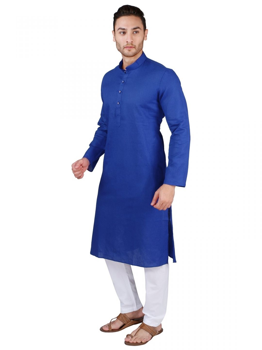 Navy Blue Linen Blend Long Kurta