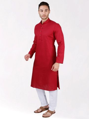 Red Linen Blend Long Kurta