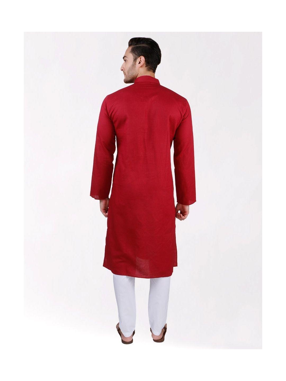 Red Linen Blend Long Kurta