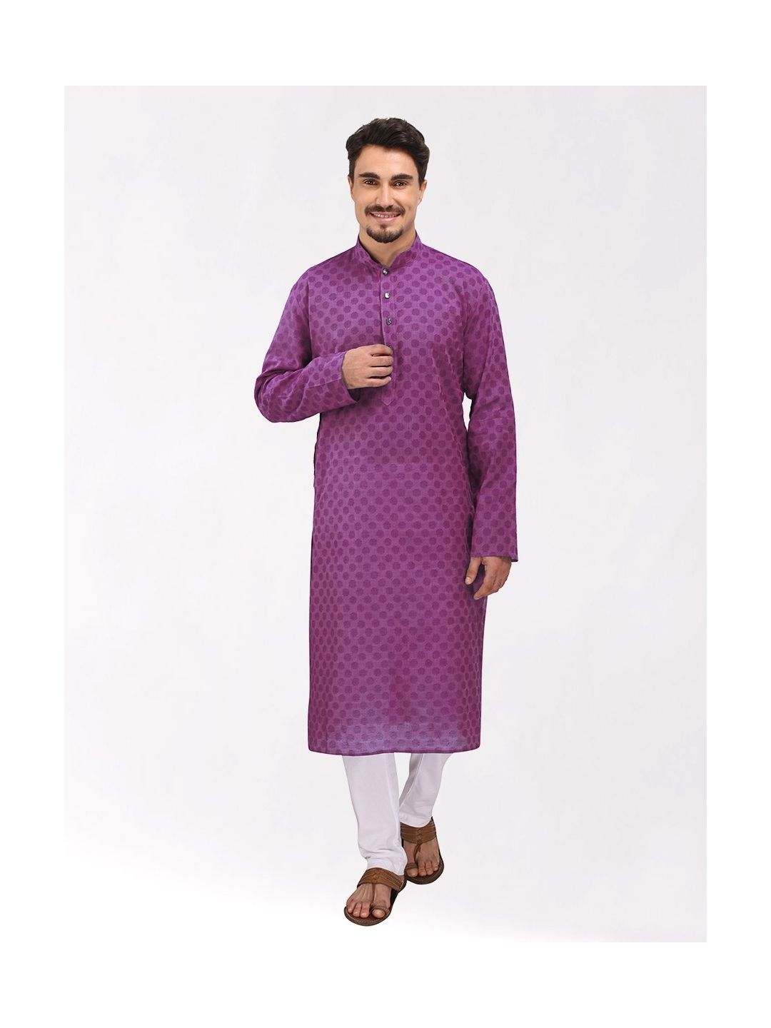 Purple Woven Design Handloom Cotton Kurta