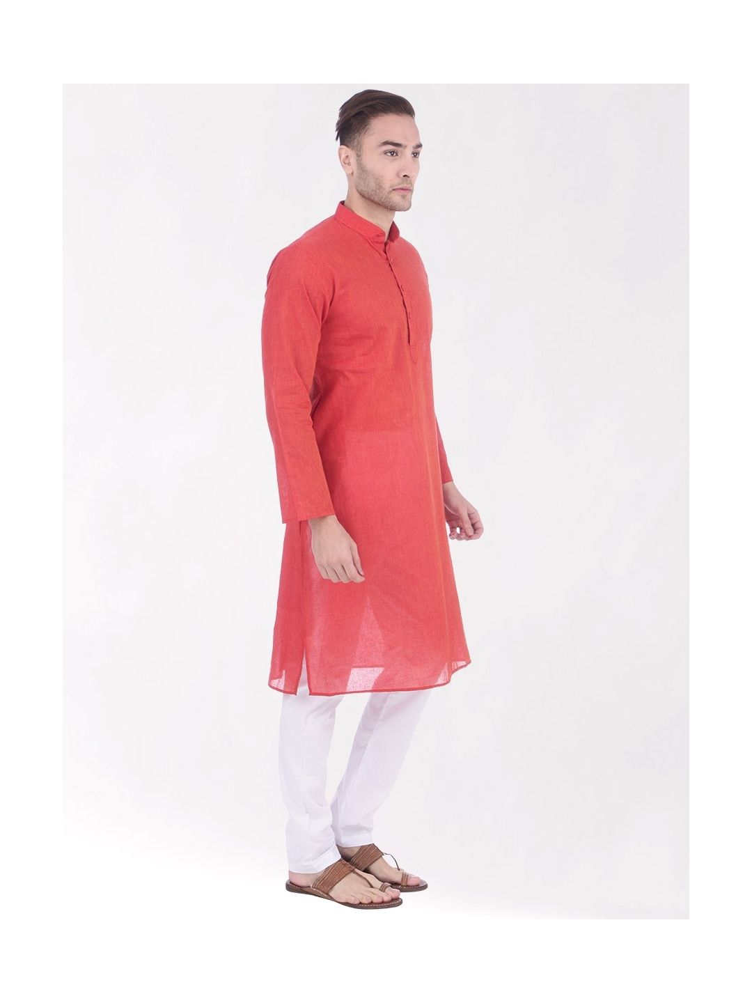 Red Handloom Cotton Kurta