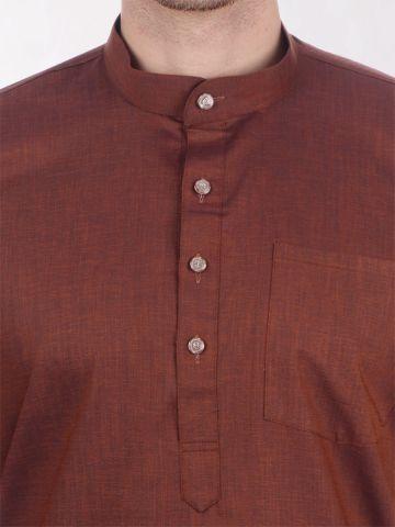 Brown Tussar Cotton Kurta (Half Sleeve)
