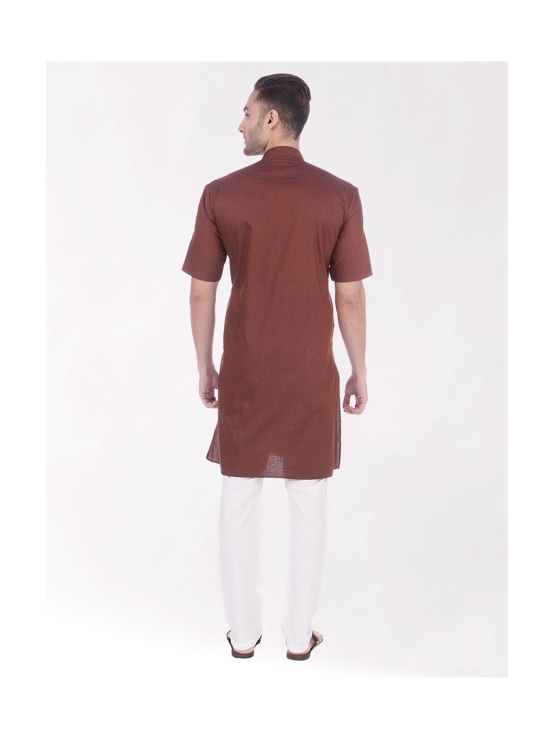 Brown Tussar Cotton Kurta (Half Sleeve)