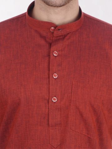 Rust Brown Tussar Cotton Kurta (Half Sleeve)