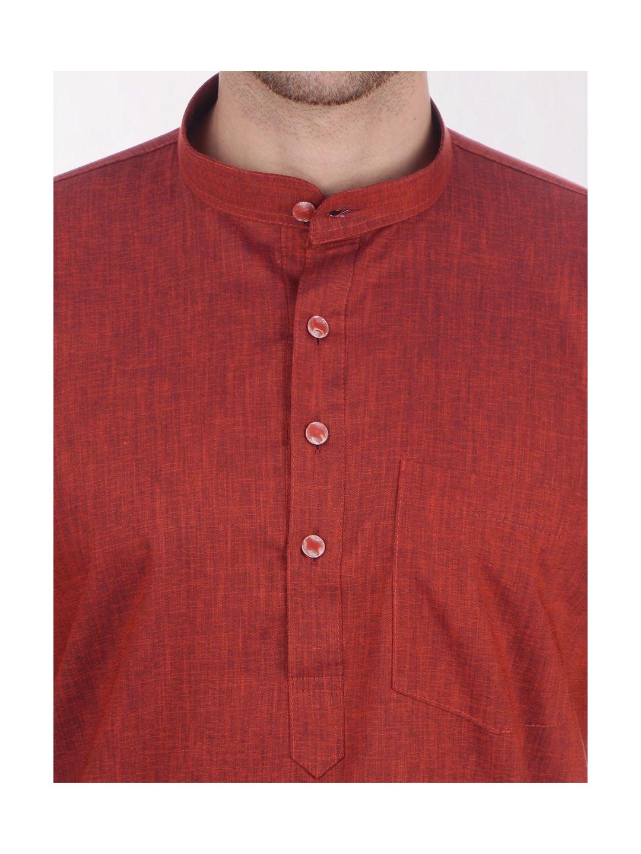 Rust Brown Tussar Cotton Kurta (Half Sleeve)