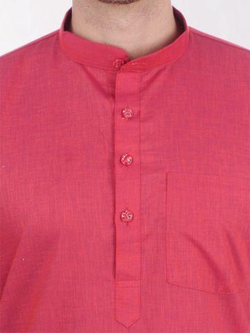 Pink Tussar Cotton Kurta (Half Sleeve)