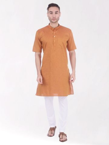 Gold Tussar Cotton Kurta (Half Sleeve)