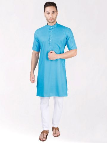 Sky Blue Tussar Cotton Kurta (Half Sleeve)