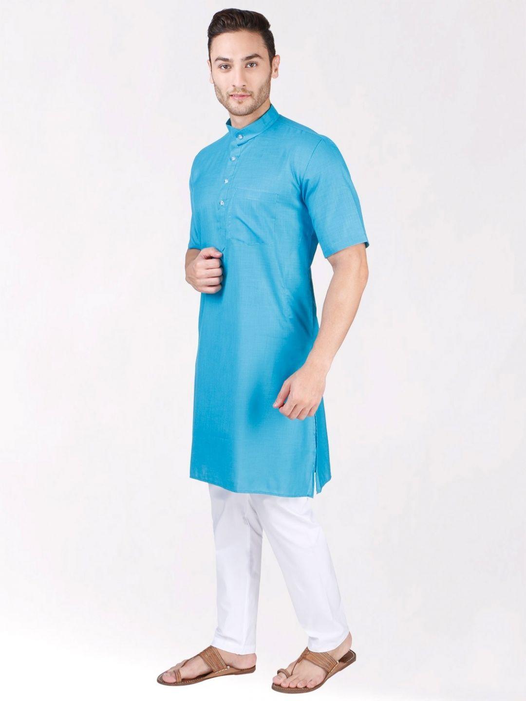 Sky Blue Tussar Cotton Kurta (Half Sleeve)