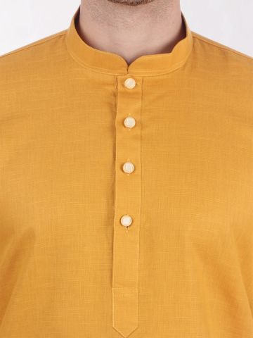 Yellow Linen Blend Long Kurta