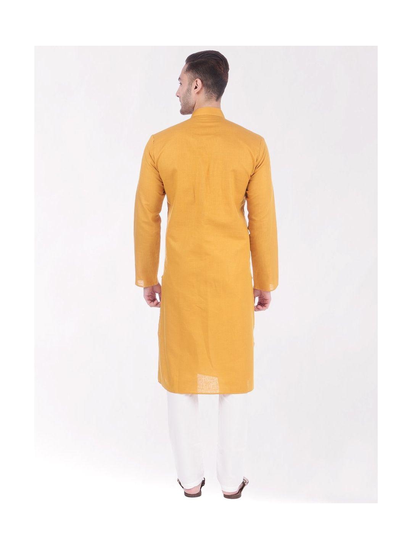 Yellow Linen Blend Long Kurta