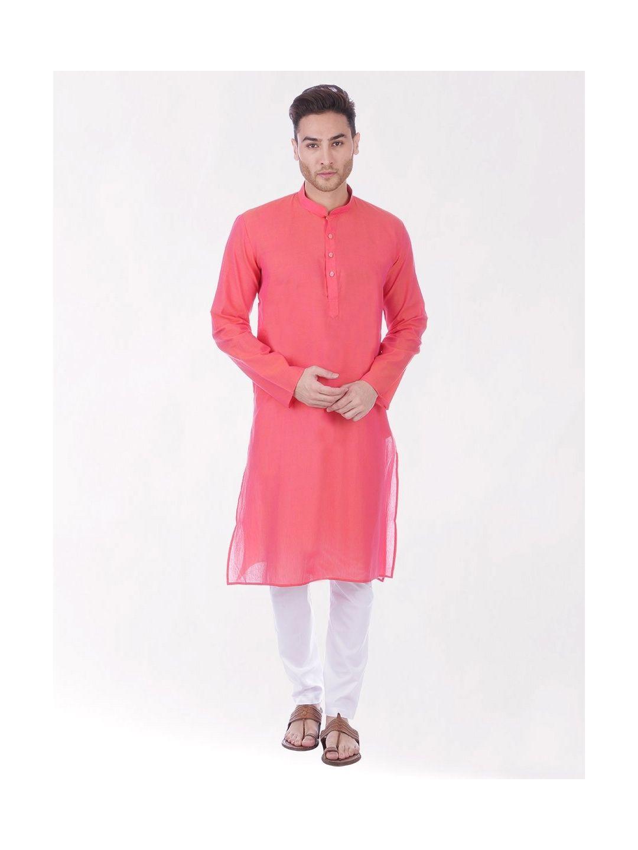 Light Red Handloom Cotton Kurta