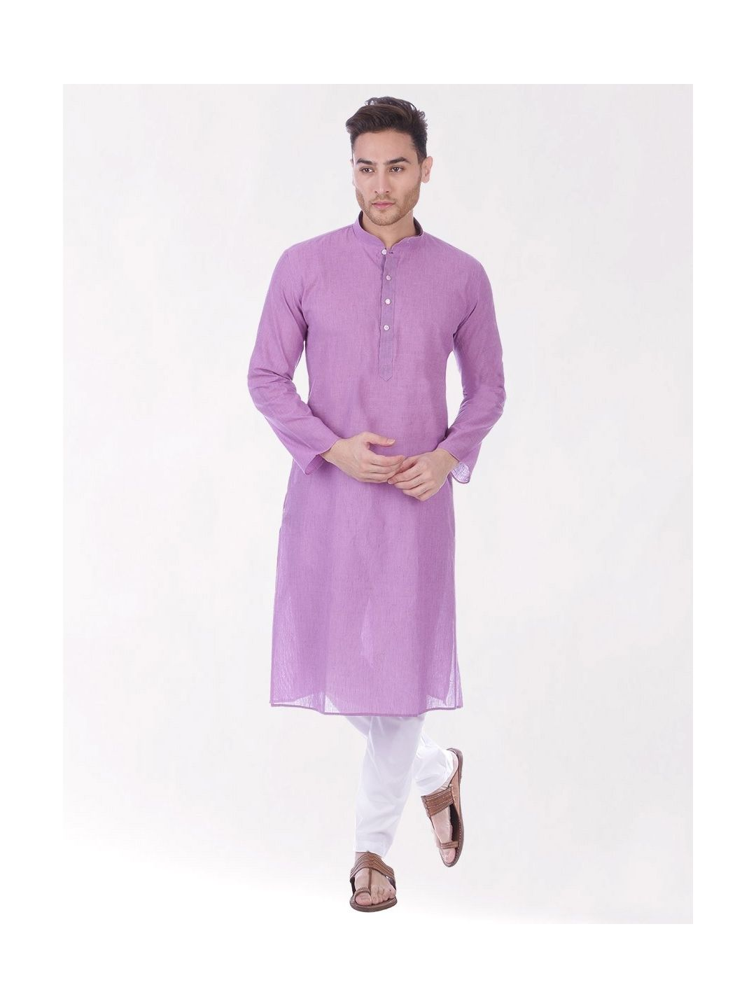 Light Purple Handloom Cotton Kurta