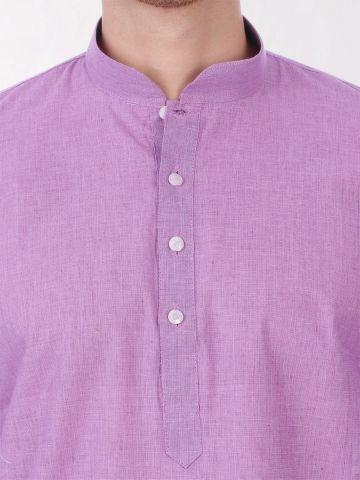 Light Purple Handloom Cotton Kurta