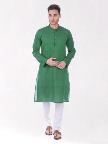 Dark Green Handloom Cotton Kurta