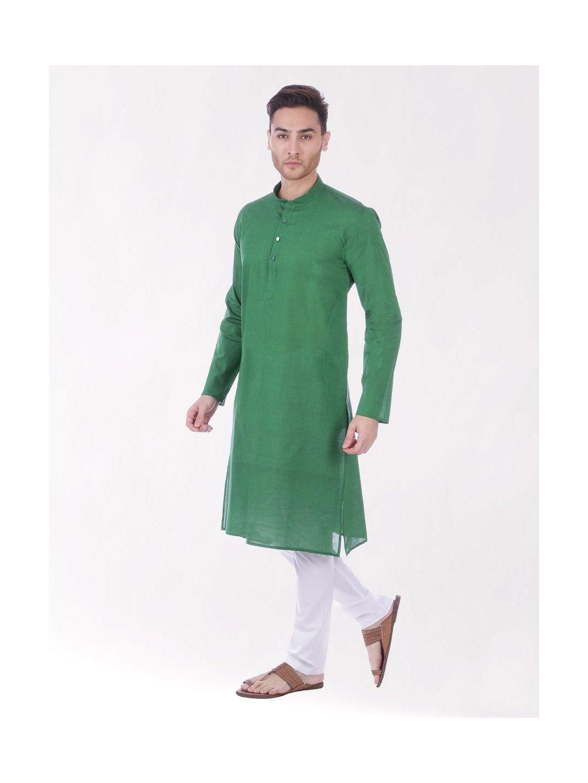 Dark Green Handloom Cotton Kurta