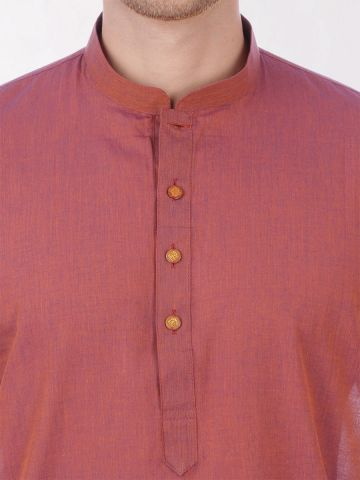 Rust Handloom Cotton Kurta