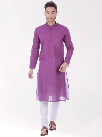 Purple Handloom Cotton Kurta