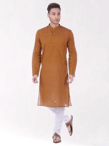 Dark Orange Handloom Cotton Kurta