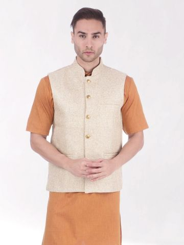 Beige Slim Fit Nehru Jacket