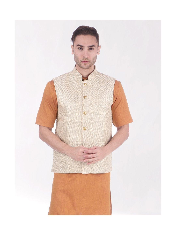 Beige Slim Fit Nehru Jacket