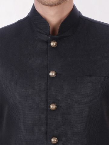 Black Slim Fit Nehru Jacket
