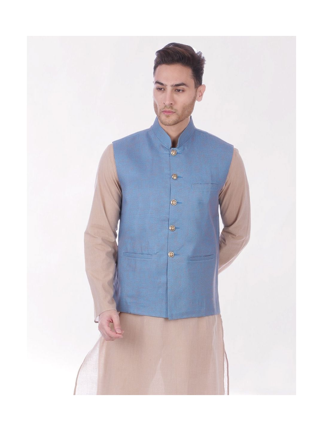 Blue Slim Fit Nehru Jacket