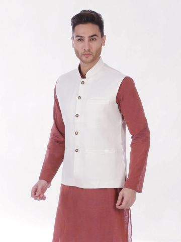 Peach Cream Slim Fit Nehru Jacket